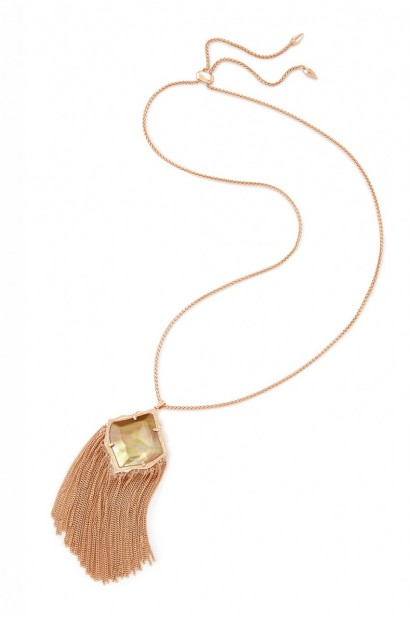 Kendra Scott Kingston Necklace in Rose Gold/Dark Brown Mother of Pearl