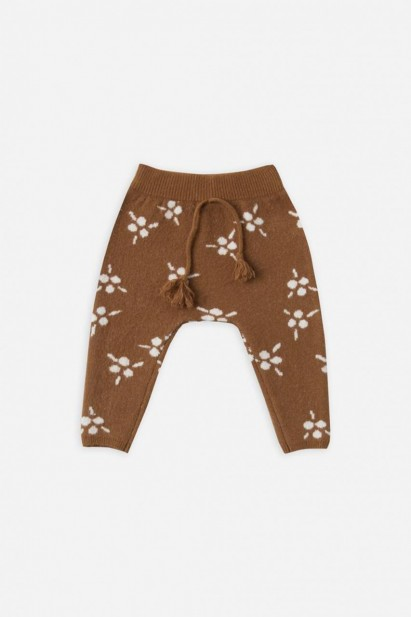 Rylee + Cru Berry Jacquard Knit Pant in Saddle