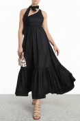 Zimmermann Empire Tie Neck Dress in Black