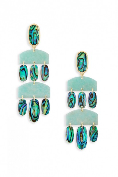 Kendra Scott Emmet Earring in Gold/Amazonite Abalone Shell Mix
