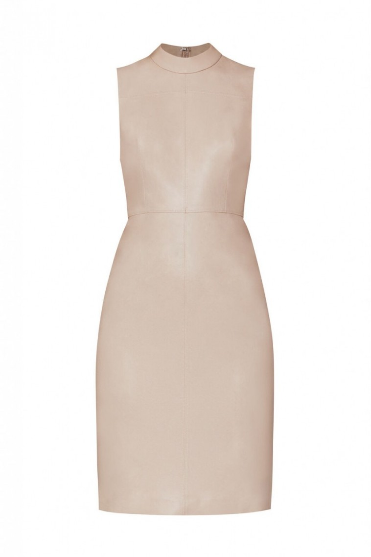 BCBG Faux Leather Dress in Bare Pink
