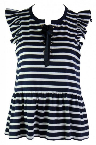 Kate Spade Lace-Up Stripe Knit Tee Rich Navy/Off white